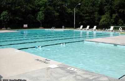 Piscinas: O sistema de drenagem, bomba e filtro. vista da piscina.