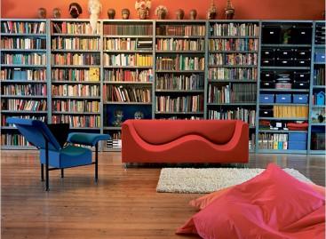 Reforma, sala com biblioteca