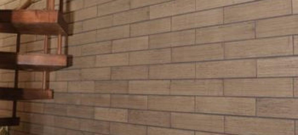 Revestimento em cerâmica que reproduz madeira de demolição