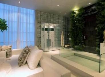 Banheira e cabine de banho no quarto
