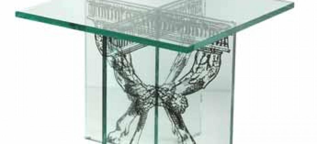 Mesa lateral de vidro