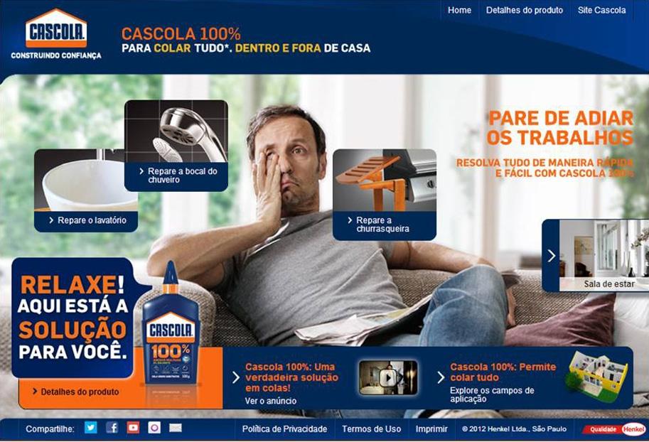 Hotsite Cascola 100% Adesivo Multiuso