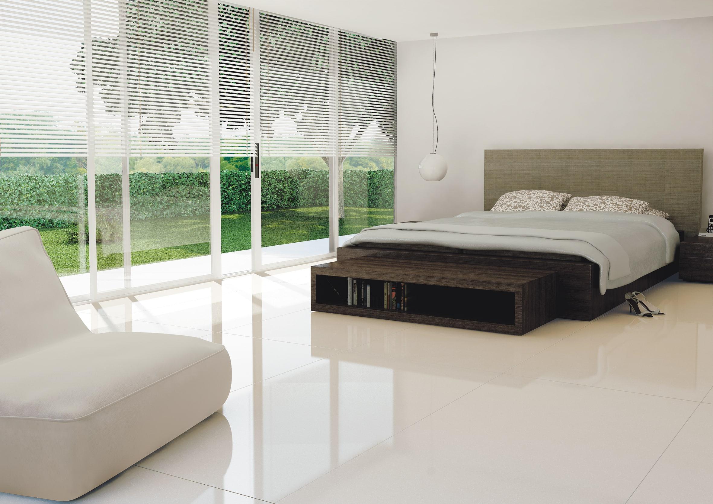 Piso de porcelanato: características vantagens e dicas Dormitório  #4B8058 2362 1668